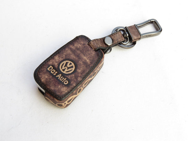 Pinalloy Retro Dark Genuine Leather Folding Key Holder Case Cover VW Golf 7 MK7 GTI VII