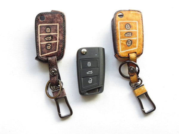 Pinalloy Retro Brown Genuine Leather Folding Key Holder Case Cover For VW Golf 7 MK7 VII - Pinalloy Online Auto Accessories Lightweight Car Kit