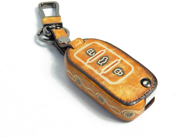Pinalloy Retro Brown Genuine Leather Folding Key Holder Case Cover For VW Golf Passat MK6