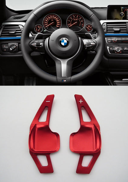 Pinalloy Red Metal Steering Wheel Paddle Shifter Extension for BMW F10 (5 series) / F30 (3 series) - Pinalloy Online Auto Accessories Lightweight Car Kit