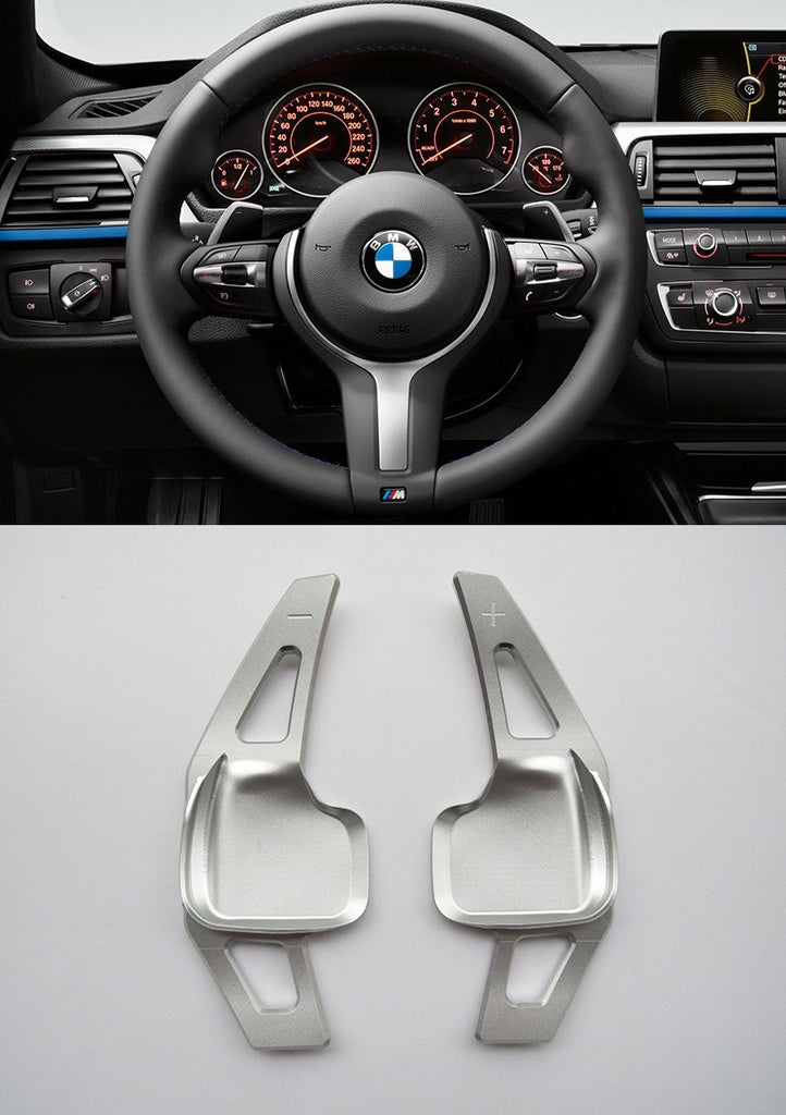Pinalloy Silver Metal Steering Wheel Paddle Shifter Extension for BMW F10 (5 series) / F30 (3 series)