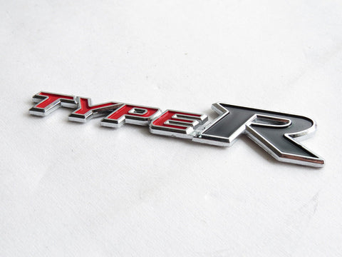 "New Red & Black ""TYPE-R"" Chrome Plastic Emblem Badge for Honda"