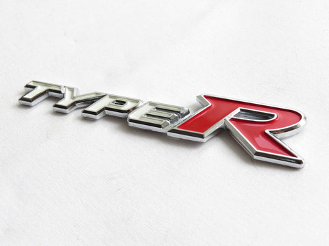 "New Red & Silver ""TYPE-R"" Chrome Plastic Emblem Badge for Honda"
