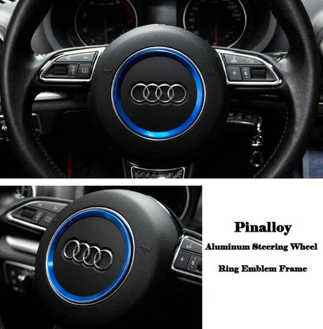 Aluminum Interior Metal Steering Wheel Ring Emblem Frame For Audi (Blue)