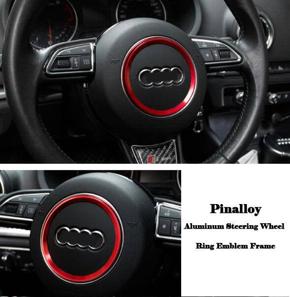 Aluminum Interior Metal Steering Wheel Ring Emblem Frame For Audi (Red) - Pinalloy Online Auto Accessories Lightweight Car Kit
