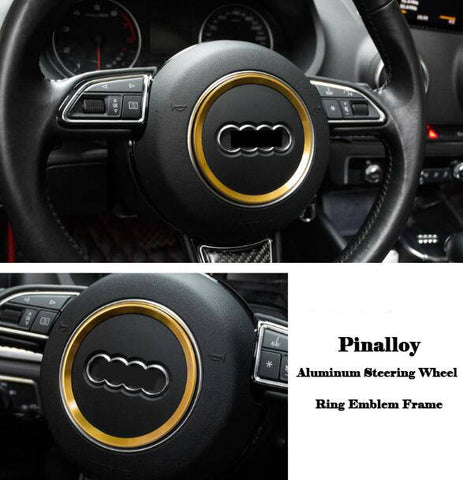 Aluminum Interior Metal Steering Wheel Ring Emblem Frame For Audi (Yellow)
