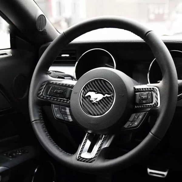 Pinalloy Steering Wheel Emblem Sticker with Carbon Fibre Texture For Ford Mustang 2015 - 17