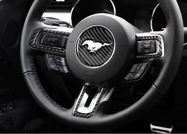 Pinalloy Steering Wheel Emblem Sticker with Carbon Fibre Texture For Ford Mustang 2015 - 17 - Pinalloy Online Auto Accessories Lightweight Car Kit