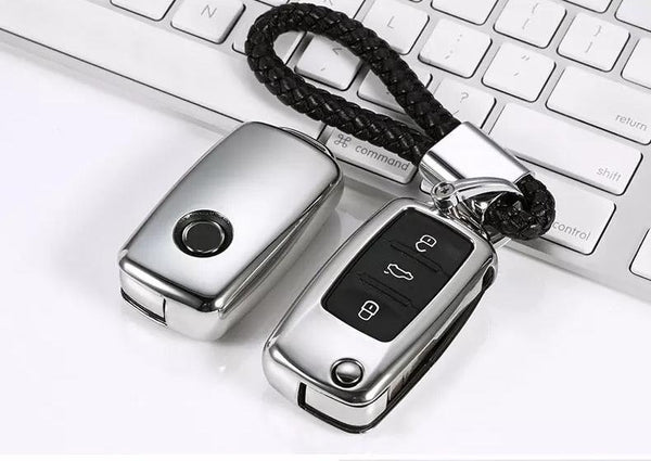 Deluxe Chrome Key Cover Case Skin Shell Fob for for VW Seat Skoda - Pinalloy Online Auto Accessories Lightweight Car Kit