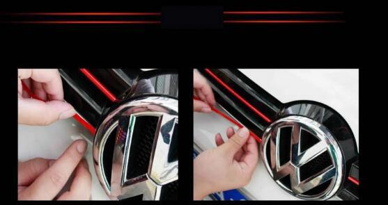 (Set of 5) Pinalloy Mesh Front Grill Red Sticker Line Liner For VolksWagen VW Golf MK6 - Pinalloy
