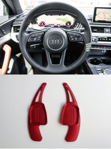 Pinalloy CNC Red Metal Alloy Steering Paddle Shifter Extension for Audi A3 A4L A5 Q7 TT TTS S4 Q2 S3 SQ 2016-2017 - Pinalloy