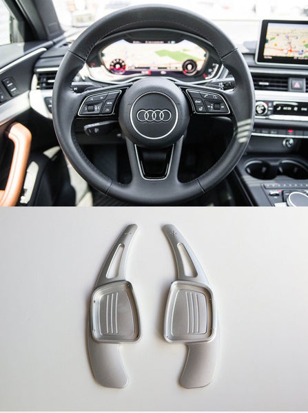 Pinalloy CNC Silver Metal Alloy Steering Paddle Shifter Extension for Audi A3 A4L A5 Q7 TT TTS S4 Q2 S3 SQ 2016-2017