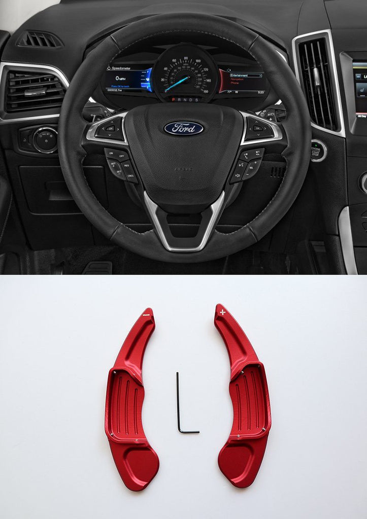 Pinalloy Red Metal Steering Paddle Shifter Extension for Ford Lincoln 2013 - 2017 - Pinalloy Online Auto Accessories Lightweight Car Kit
