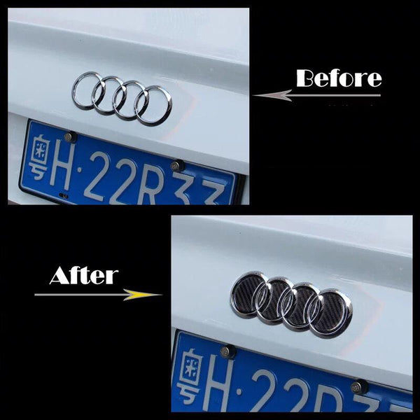 Pinalloy Plastic Tail/ Groove Stickers Label with Carbon Fiber Texture for 2009-16 Audi A4L