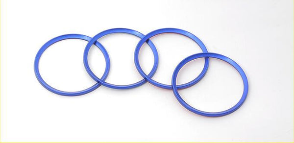 (Set of 4) Aluminum Interior Metal Wheel Frame Ring Emblem For Audi A3 A4L A6L A7 A8 (Blue)