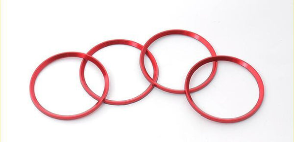 (Set of 4) Aluminum Interior Metal Wheel Frame Ring Emblem For Audi A3 A4L A6L A7 A8 (Red) - Pinalloy