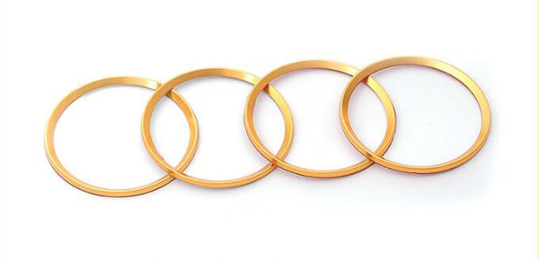 (Set of 4) Aluminum Interior Metal Wheel Frame Ring Emblem For Audi A3 A4L A6L A7 A8 (Yellow) - Pinalloy