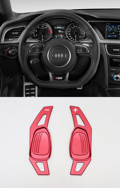 Pinalloy Red Metal Alloy Steering Paddle Shifter Extension for Audi A5 S3 S5 S6 SQ5 RS3 RS6 RS7 2014-17 - Pinalloy Online Auto Accessories Lightweight Car Kit