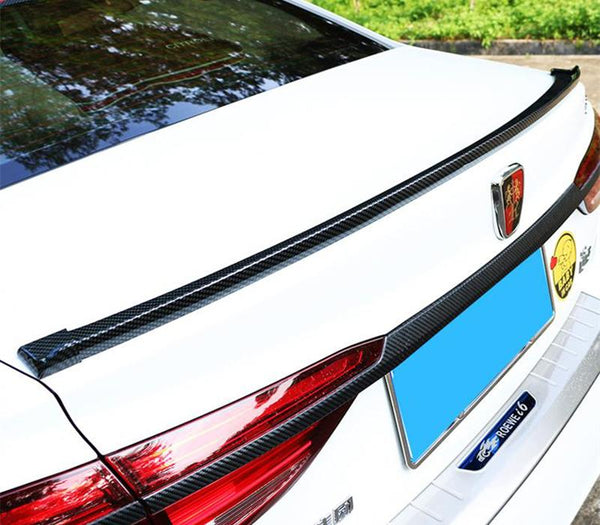 Pinalloy 4.11ft (152cm x 5cm) Universal PU Trunk Lip Spoiler or Roof Spoiler Body Kit Carbon Fiber Pattern Trim Sticker - Pinalloy