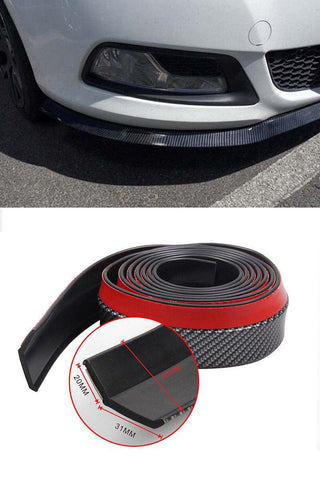 Pinalloy 48MM Wide TPVC/PU/EPDM Rubber Soft Bending with Carbon Fiber Texture Universal Front Bumper Spoiler Lip 8.2 feet (2.5 meters) - Pinalloy