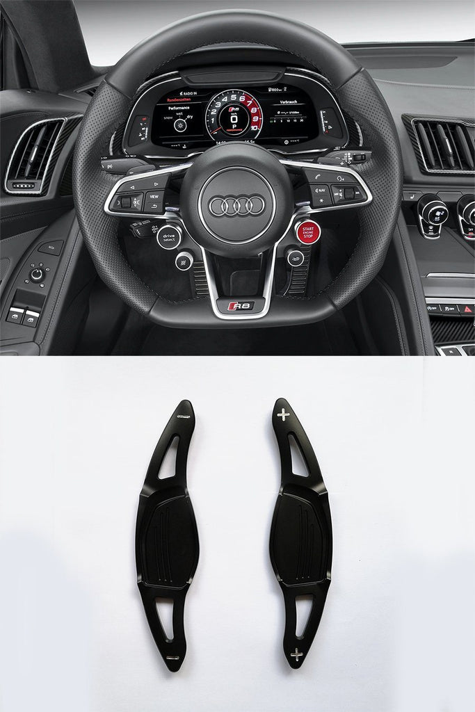 Pinalloy Black Metal Steering Wheel Paddle Shifter for New Audi R8 RS3 RS4 RS5 TT RS - Pinalloy