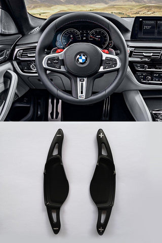 Pinalloy Black Metal Steering Wheel Paddle Shifter Extension for 2018 BMW 5 7 M5 X4 - Pinalloy