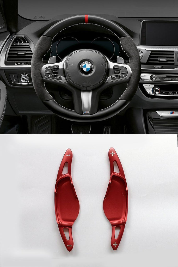 Pinalloy Red Metal Steering Wheel Paddle Shifter Extension for 2018 BMW 5 7 M5 X4 - Pinalloy