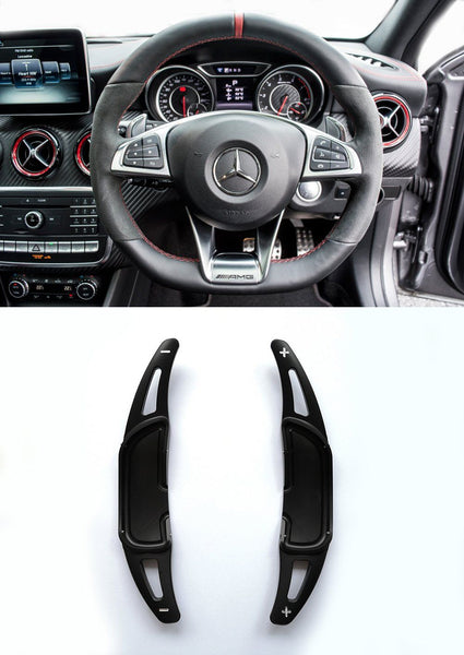 Pinalloy Black Alloy Paddle Shifter Extension For Mercedes Benz AMG A45 CLA45 GLA45 C63 S63 2015-up - Pinalloy