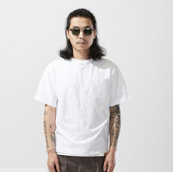 Pinalloy Classic Pocket Short Sleeve White Summer Round Neck Tee Cotton T-Shirt - Pinalloy Online Auto Accessories Lightweight Car Kit
