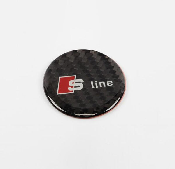 Carbon Sticker Center Knob Control Button Sline 3D Emblem Badge for AUDI A3 A4 A5 - Pinalloy Online Auto Accessories Lightweight Car Kit