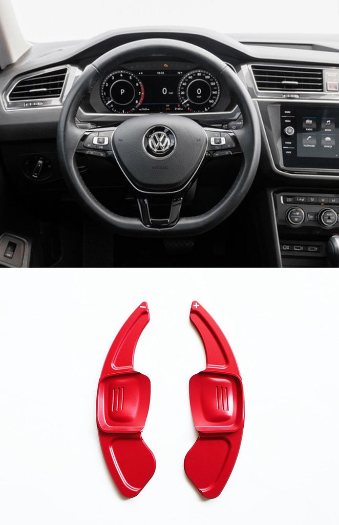 Pinalloy Red DSG Paddle Shifter Extension for Volkswagen Tiguan L Teramont PHIDEON C-TREK (Ver.2) - Pinalloy Online Auto Accessories Lightweight Car Kit