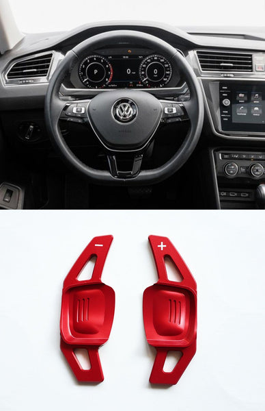 Pinalloy Red DSG Paddle Shifter Extension for Volkswagen VW Tiguan L Teramont PHIDEON C-TREK - Pinalloy Online Auto Accessories Lightweight Car Kit