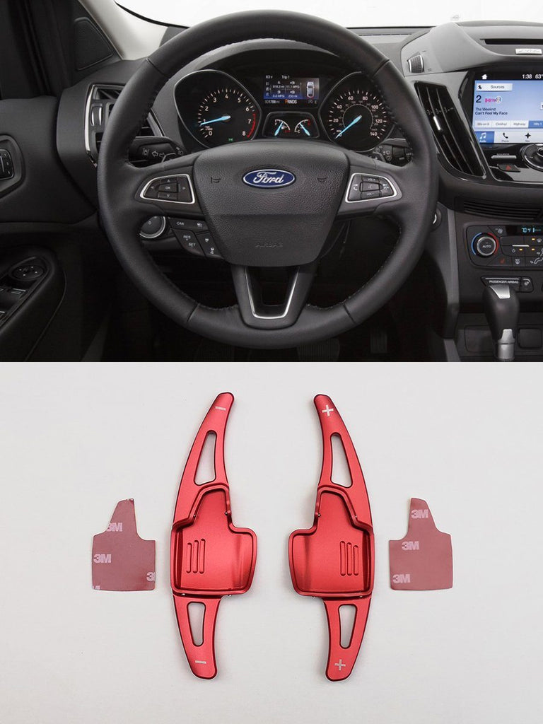 Pinalloy Red Metal DSG Paddle Shifter Extensions for Ford Focus 2015-2018 Escape Ecosport - Pinalloy Online Auto Accessories Lightweight Car Kit