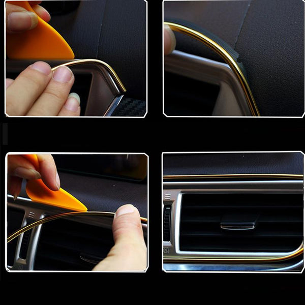 Pinalloy 3 Meters USB/ Cigarette Lighter Port Strip Compatible Car interior DIY Exterior Decoration Moulding Trim Strip line Sticker Insert Type for Air Outlet Dashboard Decoration - Pinalloy
