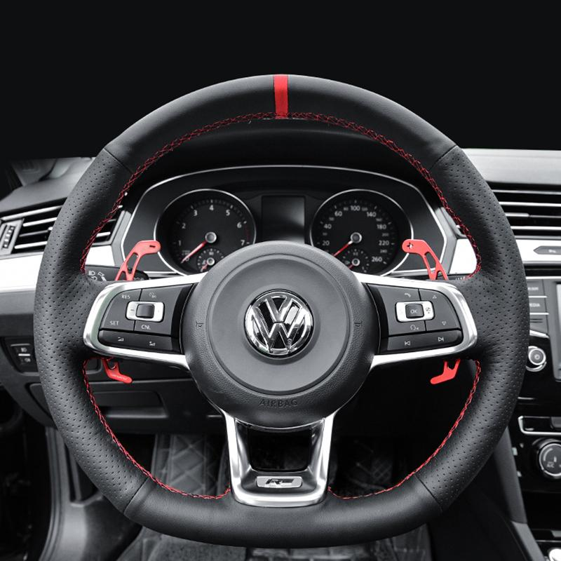 Pinalloy Leather Steering Wheel Cover For Volkswagen Magotan B8l Vw Mk 7 Gti R Line Cc