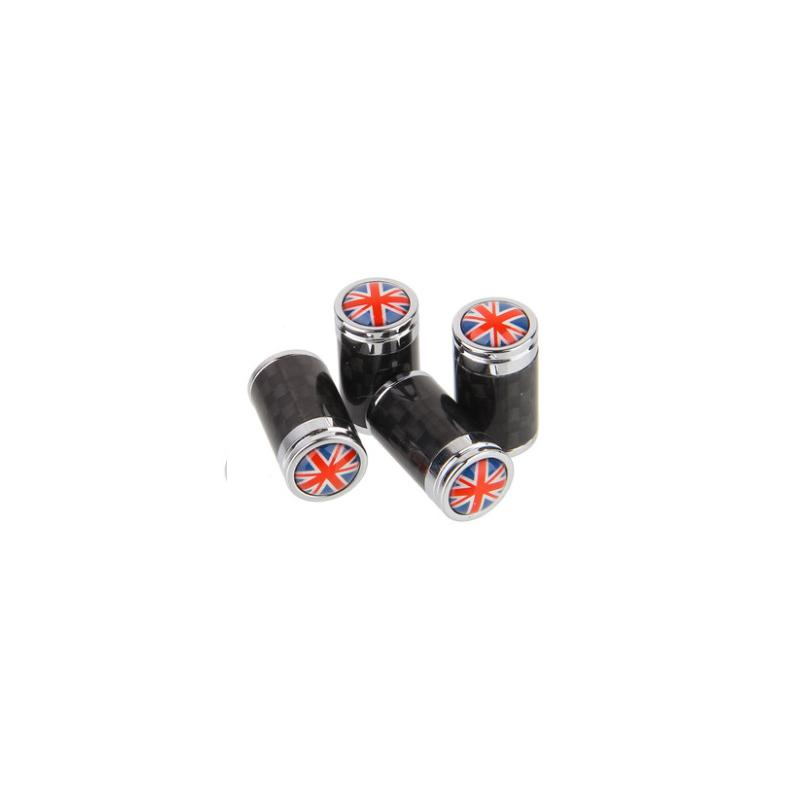 (Set of 4pcs) Carbon Fiber CAR Airtight Wheel Tire Air Valve Caps Stem Cover With England Flag - Pinalloy Online Auto Accessories Lightweight Car Kit