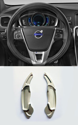 Silver Aluminum DSG Paddle Shift Extensions for 2014-17 Volvo V40 S60 V60 SC60 - Pinalloy Online Auto Accessories Lightweight Car Kit