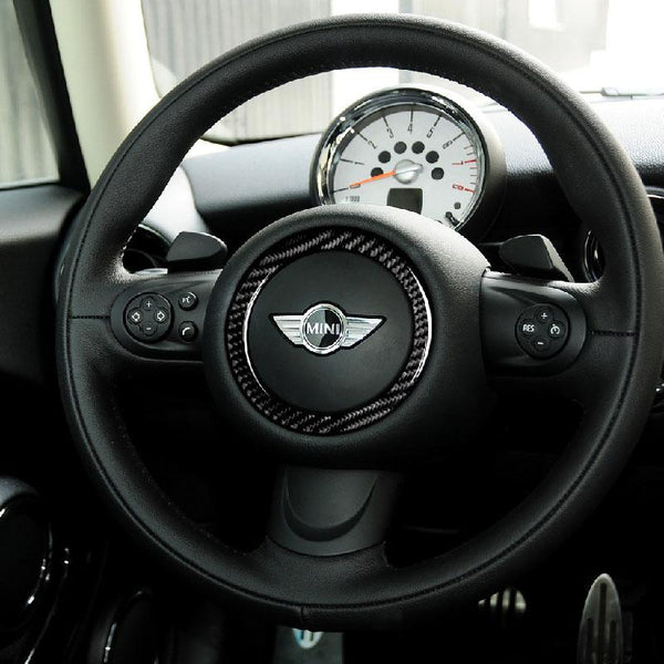 Carbon Fiber and ABS Steering Wheel Emblem Frame Sticker For 07-13 MINI (V.1) - Pinalloy Online Auto Accessories Lightweight Car Kit