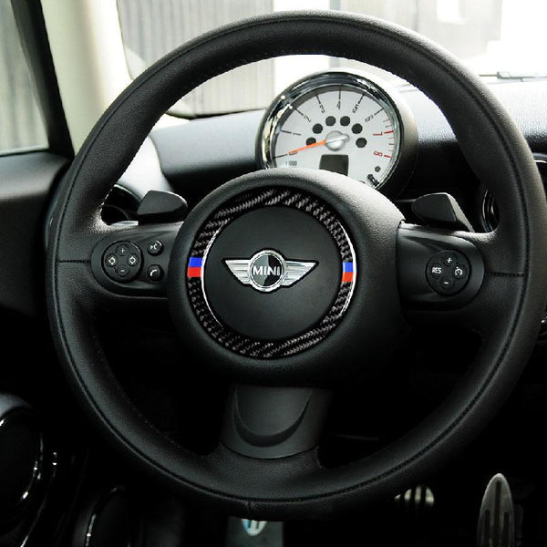 Carbon Fiber and ABS Steering Wheel Emblem Frame Sticker For 07-13 MINI (V.2) - Pinalloy Online Auto Accessories Lightweight Car Kit