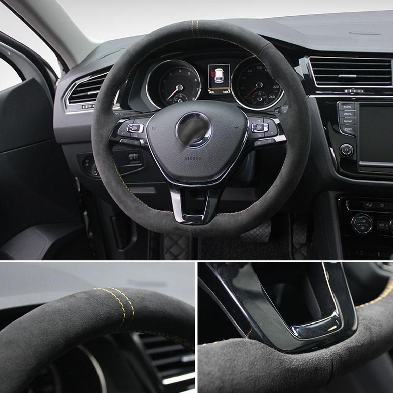 Pinalloy Synthetic Cashmere Steering Wheel Cover for Volkswagen MK6 Teramont Touran PASSAT MAGOTAN TIGUANL - Pinalloy Online Auto Accessories Lightweight Car Kit