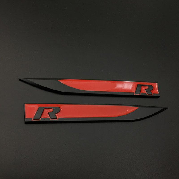 Pinalloy Black Red ABS Stickers Mark Emblem with R Wording