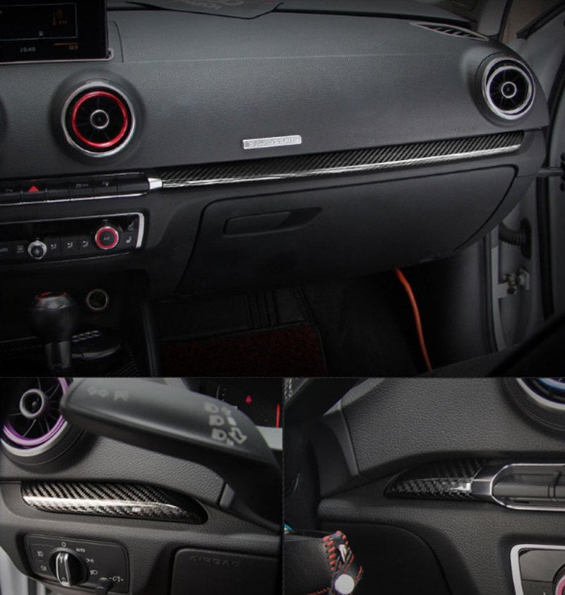 Set of 7) Real Black Carbon Fiber Interior Trim Complete Set for ...