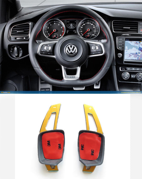 V2 Pinalloy Gold Alloy DSG Paddle Shifter Extension Steering Wheel VW Golf Scirocco MK5 6 / SEAT Leon (Version 2) - Pinalloy Online Auto Accessories Lightweight Car Kit
