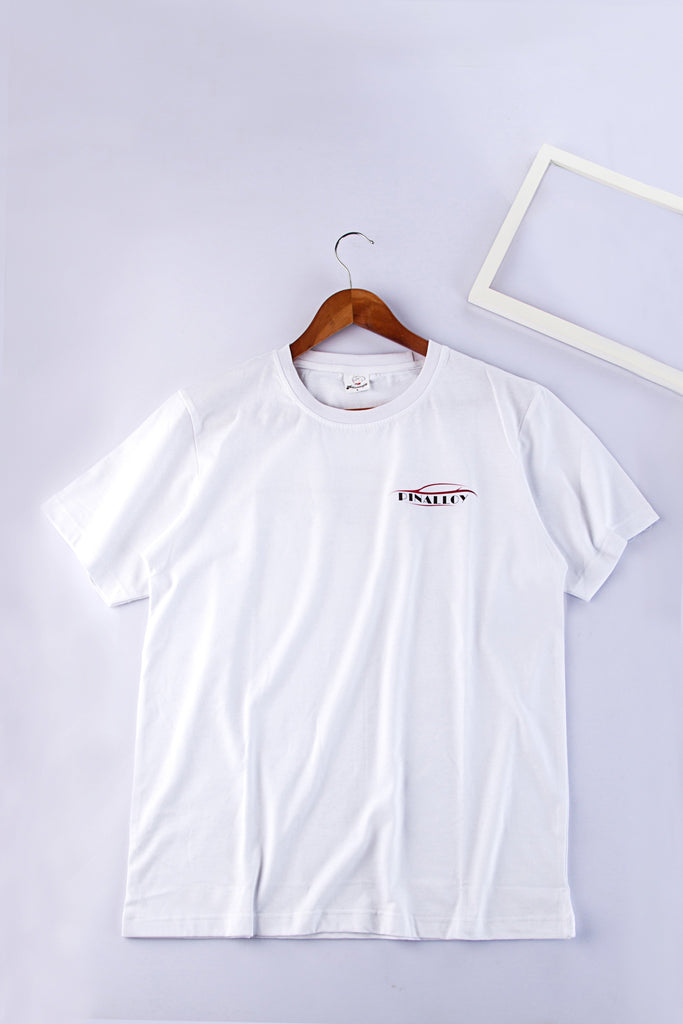 Pinalloy Classic Short Sleeve White Summer Round Neck Tee Cotton Printed T-Shirt