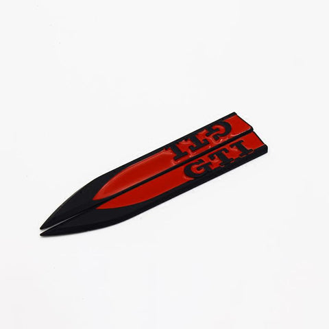 (Set of 2) Pinalloy Black and Red ABS Stickers Blade Side Mark Emblem with GTI Wording