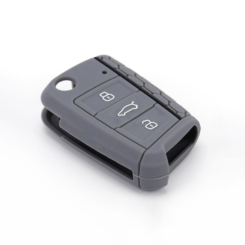 Pinalloy Silicone Key Cover Case Skin Key Fob for Volkswagen VW Golf 7 MK7 (Dark Grey)