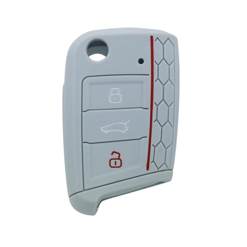 Pinalloy Silicone Key Cover Case Skin Key Fob for Volkswagen VW Golf 7 MK7 (Grey)