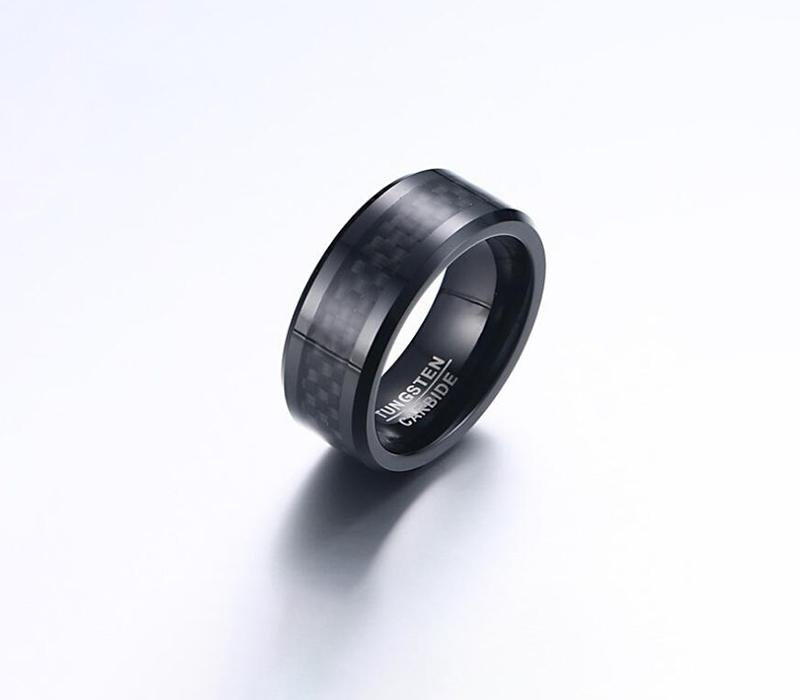 Real Carbon Fiber Titanium Ring Wedding Band 8MM Black Plated Ring - Pinalloy Online Auto Accessories Lightweight Car Kit