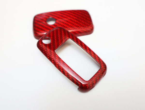 Pinalloy Red Deluxe Real Carbon Fiber Remote Flip Key Cover Case Skin Shell for VW Seat Skoda - Pinalloy