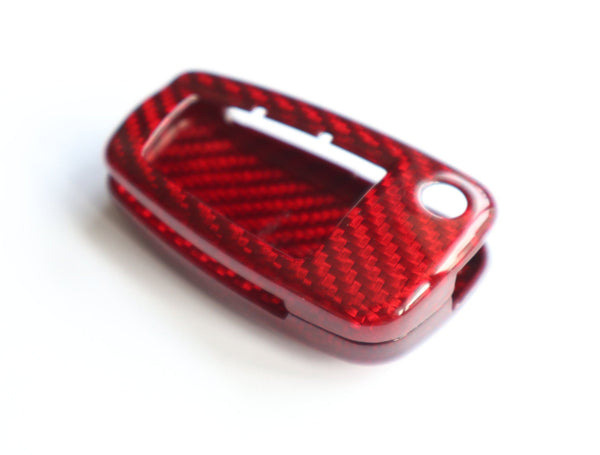 Pinalloy Real Red Carbon Fiber Key Case for Audi A3 A4 TT